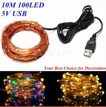 USB 10M 100 led outdoor festival party decoration light for wedding