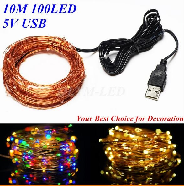 USB 10M 100 led outdoor led copper wire string fairy lights festival party decoration lights