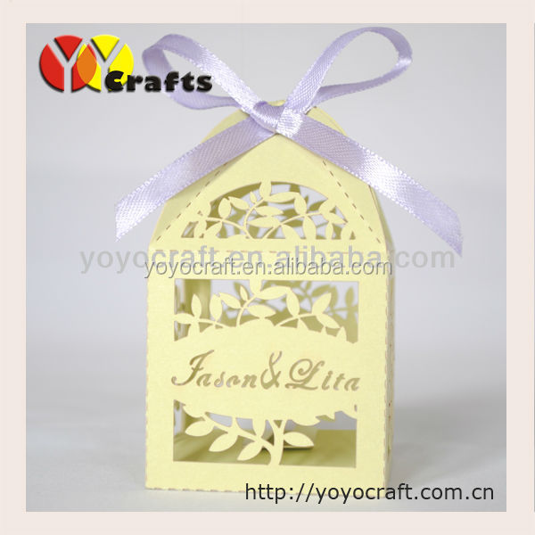 holiday promotions! laser cut flower paper candy box for party decoration