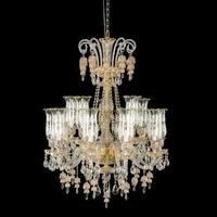 European Gold Baccarat Chandelier Light With Crystal pendant & Gold Iron Frame
