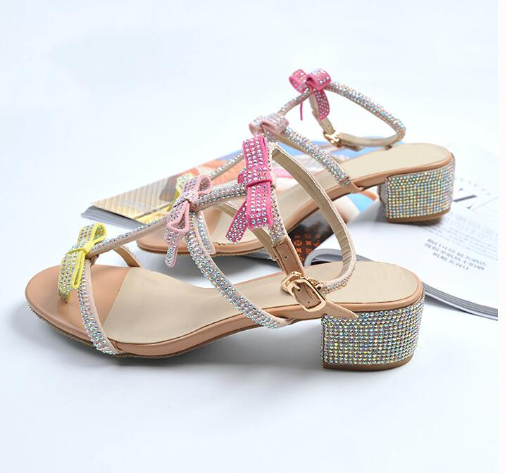 ed4efea2244 Charming Fairy Shinny Crystal studded Flats Sandals women Butterfly Knot  flip flops Drilled dress Hot sell ...