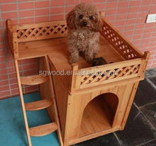 FSC wooden pet dog house with balcony for wholesale in China