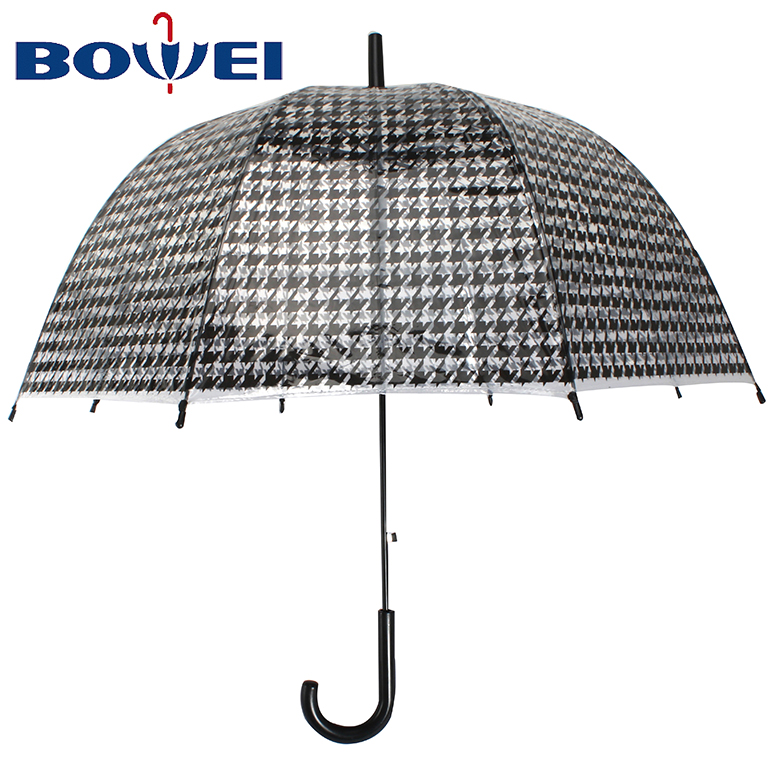 Top quality apollo poe transparent plastic clear birdcage dome umbrella with printing