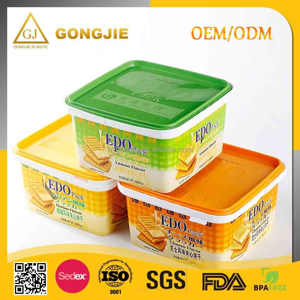 3.2L Lockable Easy Open 2017 hot selling products Round Cookie Use and PP Plastic Type Cookies Plastic container with Lid, Biscu