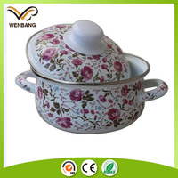 different sizes beautiful design full decal enamel casserole hot pot with lid