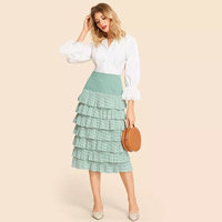Tiered layer green pleated midi skirt