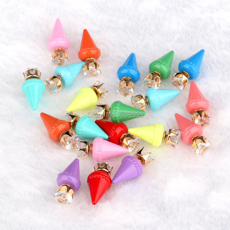 New Design Personalized Rhinestone Punk Cone Stud Earring Evening Dress Jewelry For Women Party Earrings Accessories Hot Sale