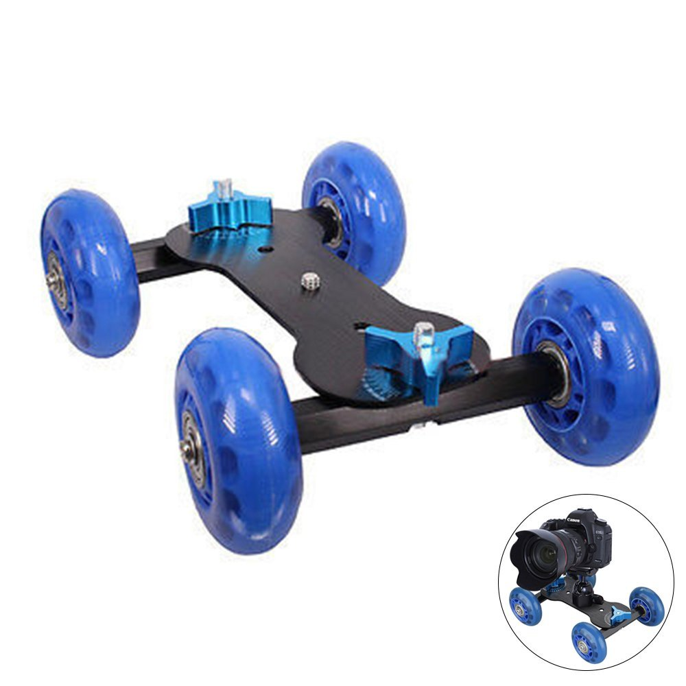 Video Track Rail, FOME Mobile Rolling Camera Slider Dolly Track Car Video Track Rail Dolly Slider and Standard 1/4 inch Threaded with Load Capacity 30kgs/66Pounds for DSLR Cameras and Video Camcorders