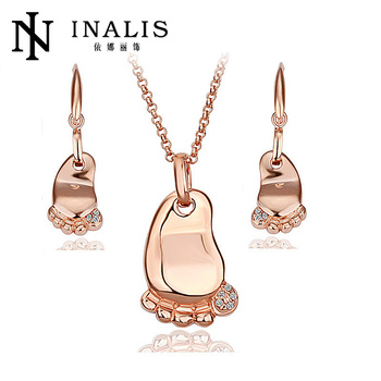 Lovely baby footprint necklace earrings 18k gold jewelry sets s036 lovely baby footprint necklace earrings 18k gold jewelry sets s036 aloadofball Choice Image