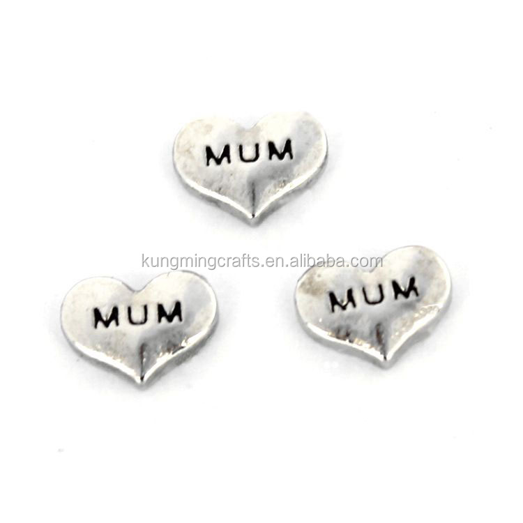 DongGuan Factory Crafts Custom Love Heart Engraved Letters Floating Charms For Lockets Pendants