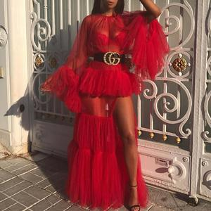 2018 New Arrival Sexy Ladies One Piece Red Prom Dress Bandage Long Sleeve Evening Party Dress