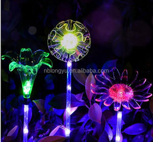 Solar Powered Garden Stake Lights with a Purple LED Light Stake