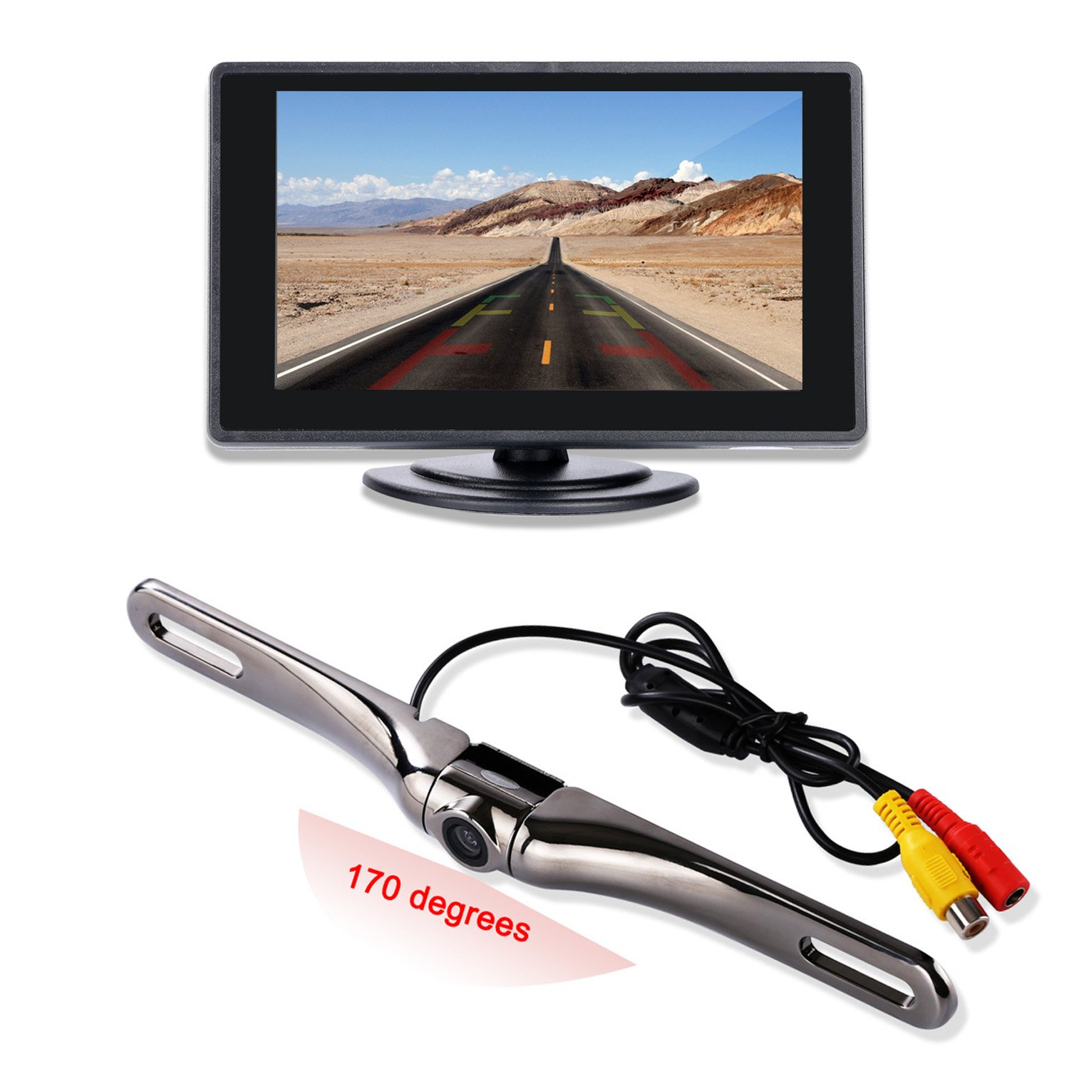 """Backup Camera and Monitor Kit for Car,4.3"""" TFT LCD Monitor with170 degree Wide Angle Waterproof License Plate Backup Camera-Swivel Angle Adjustable"""