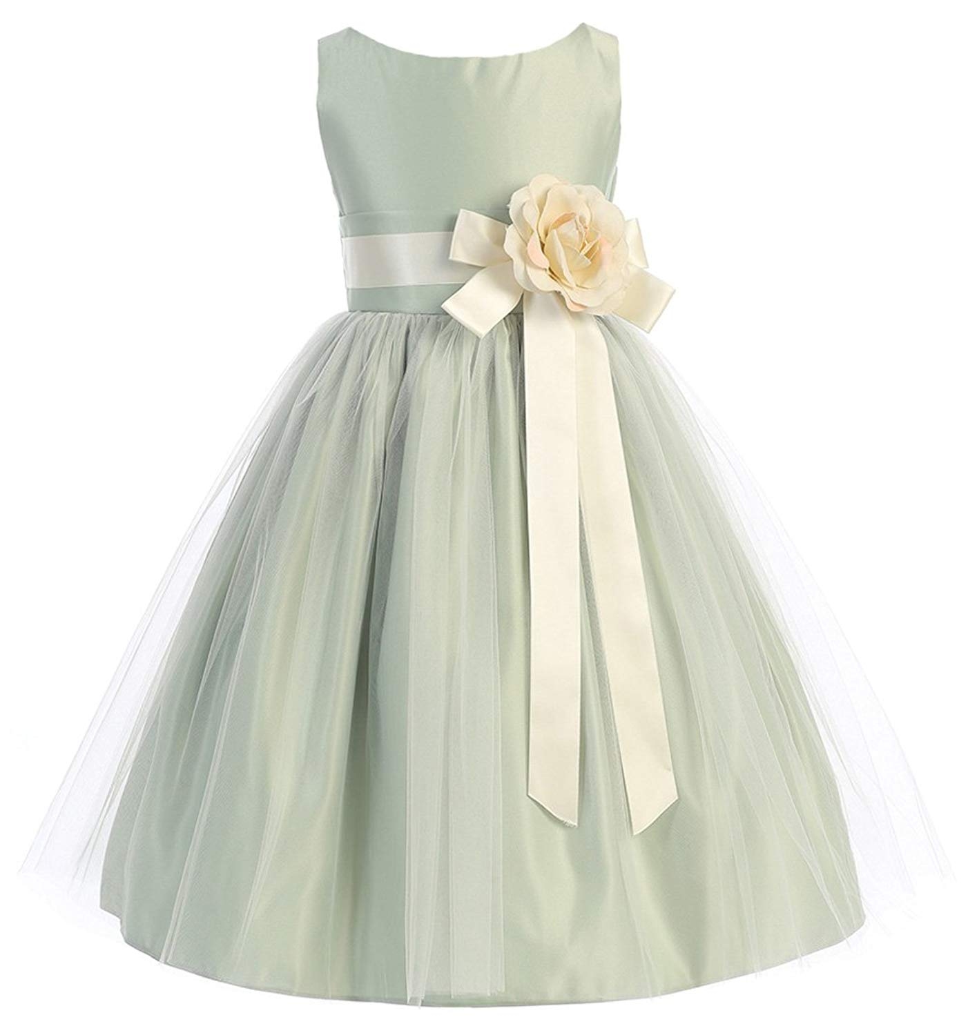 696fecee576 Get Quotations · Baby Toddler Flower Girl Vintage Satin Tulle Special  Occasion Dress - 11 Colors