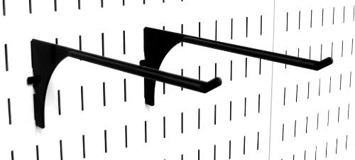 """Wall Control 10-ER-004 B Pegboard 9"""" Reach Extended Slotted Hook Pair, Black"""