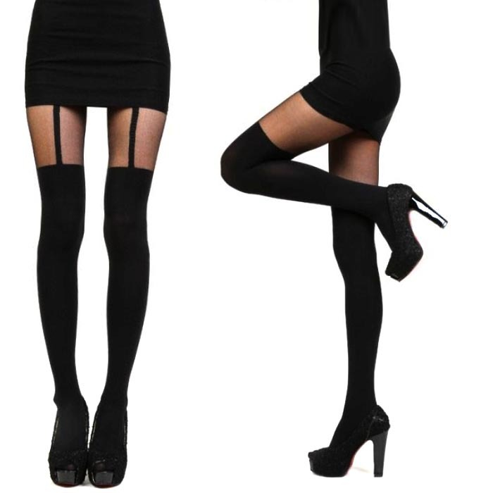 111cff6089e Get Quotations · Fashion Tights Women Mock Suspender Tights Elegant Sexy  Soft Comfortable Tights Highly Fashionable Stockings Patterned Pantyhose