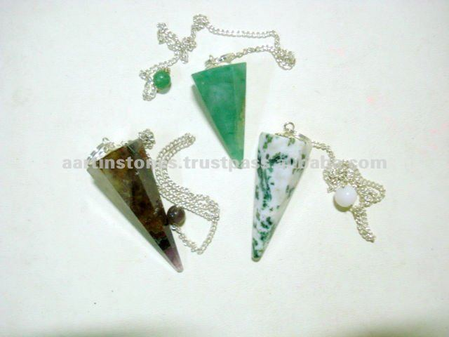 Atacado Assorted 6-Facet Natural Gemstone Reiki Dowsing Pêndulos de pedra de Cura