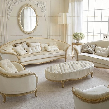 Gold painted birch wood white color fabric sofa designs 7 seater fabric sofa set