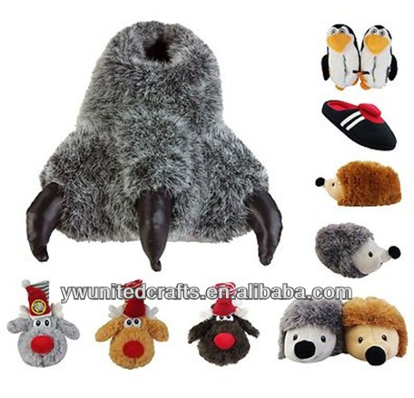 OEM high quality Kids Novelty Slippers Winter Present Warm Cosy Comfy Gift Funny Furry Animal plush slippers
