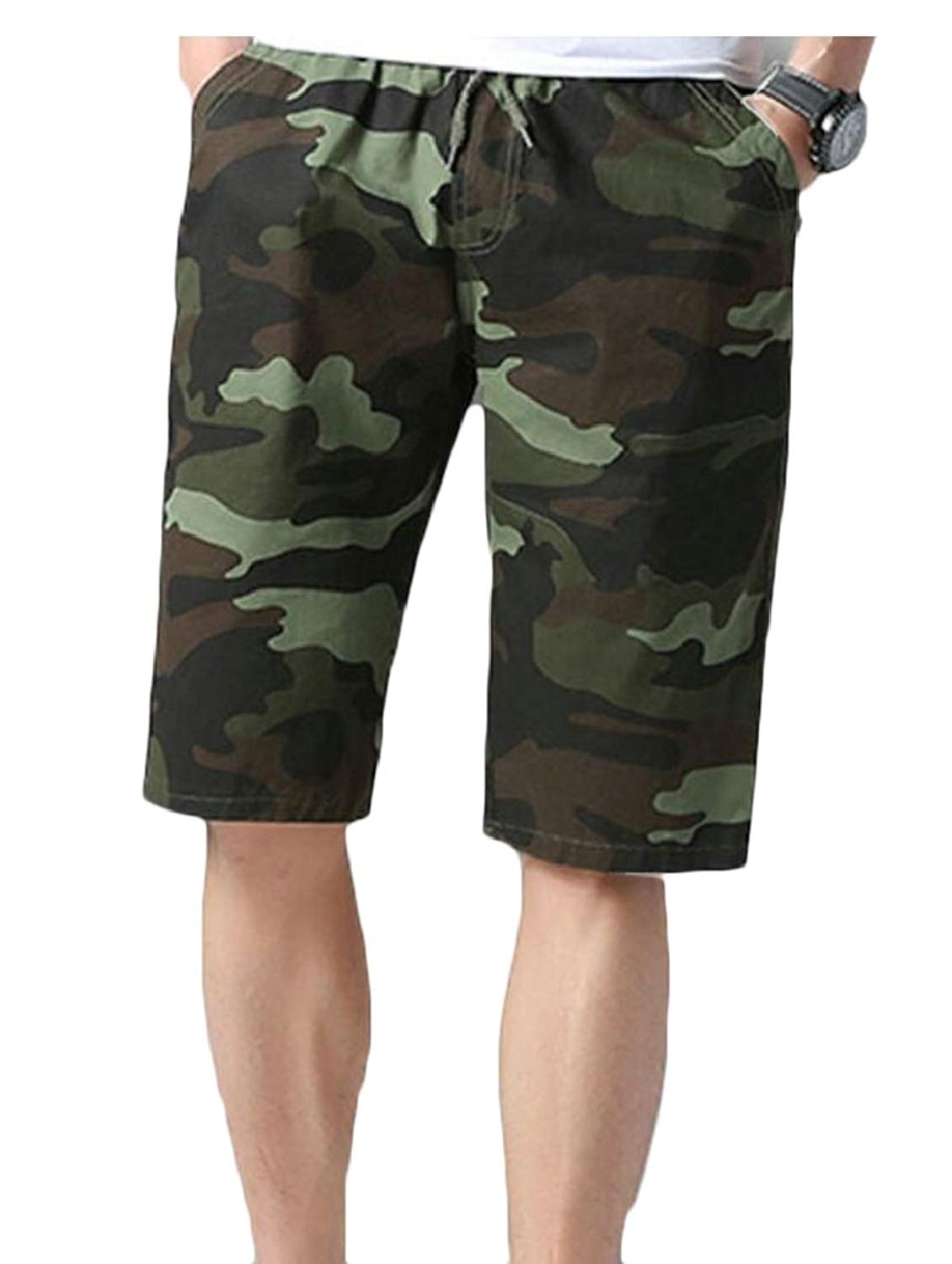 WSPLYSPJY Mens Camouflage Printing Elastic Waist Beach Board Shorts Swim Trunks