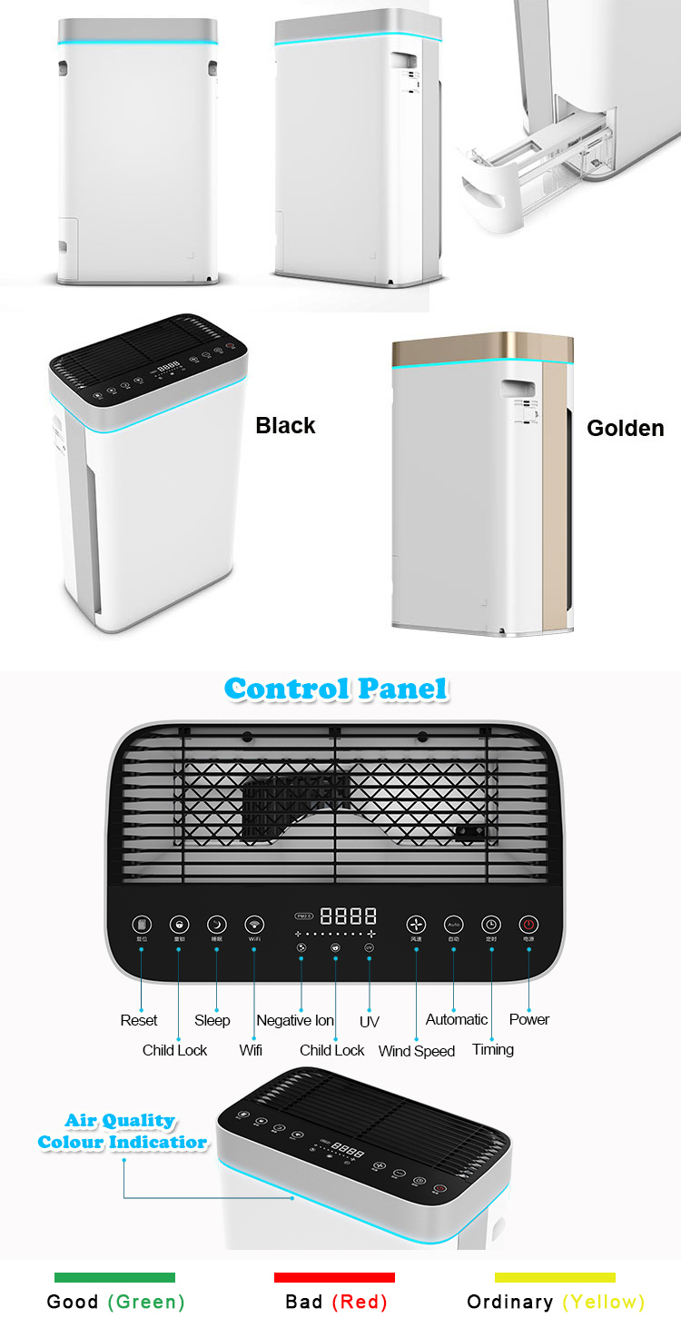 Olansi OEM Manufacturer Home Smoke 7 Purifications Hepa Filter Portable Ionizer Wifi APP Hepa Air Purifier