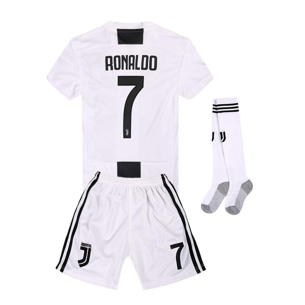 09065b41fef Get Quotations · Juventus Kids Youth Home  7 Ronaldo Soccer Jersey and  Shorts and Socks 18