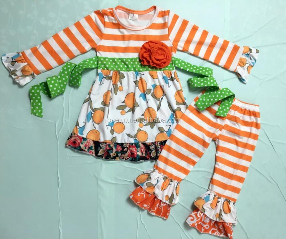 New Arrival Fall Baby Girl Clothing Top With Pants Ruffle Stripe Sets 2 Piece Outfit Wholesale Children's Boutique outfits