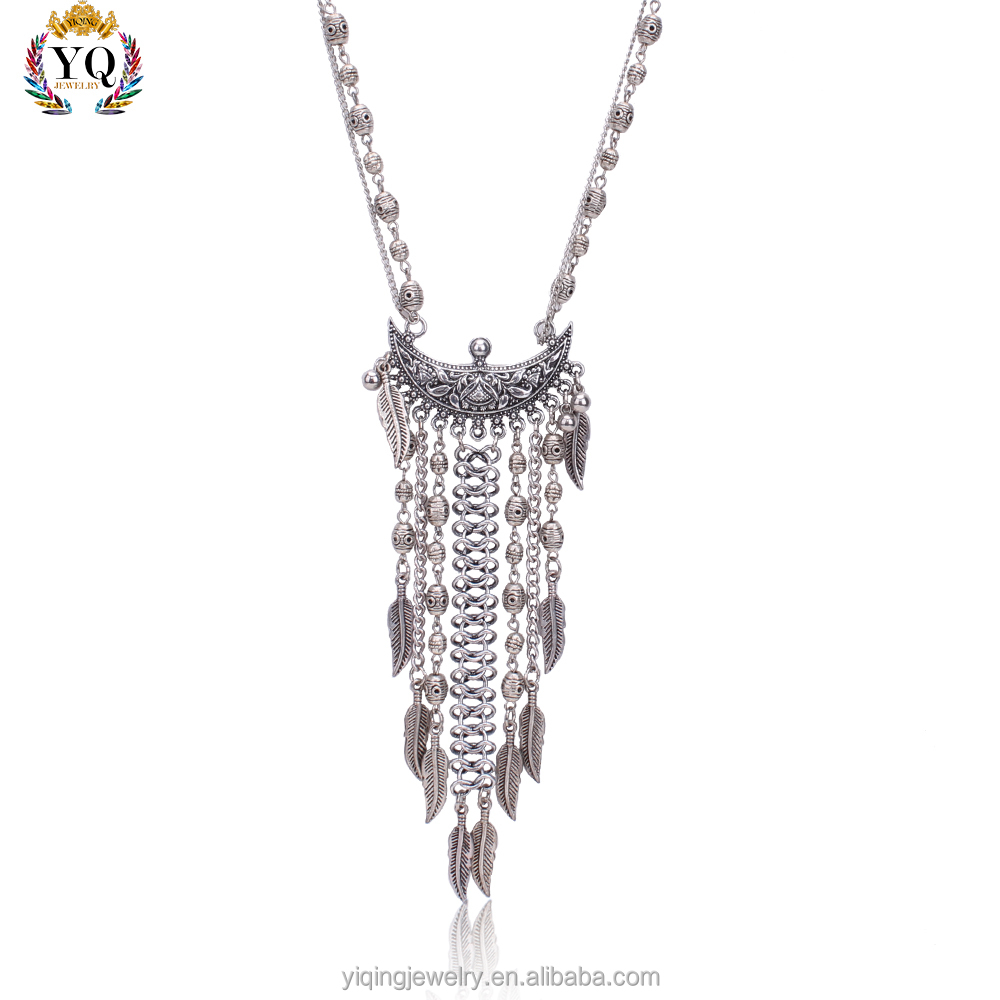 PYQ-00103 new retro tribe style antique silver beads leaves tassel pendant necklace for men women anniversary gift party