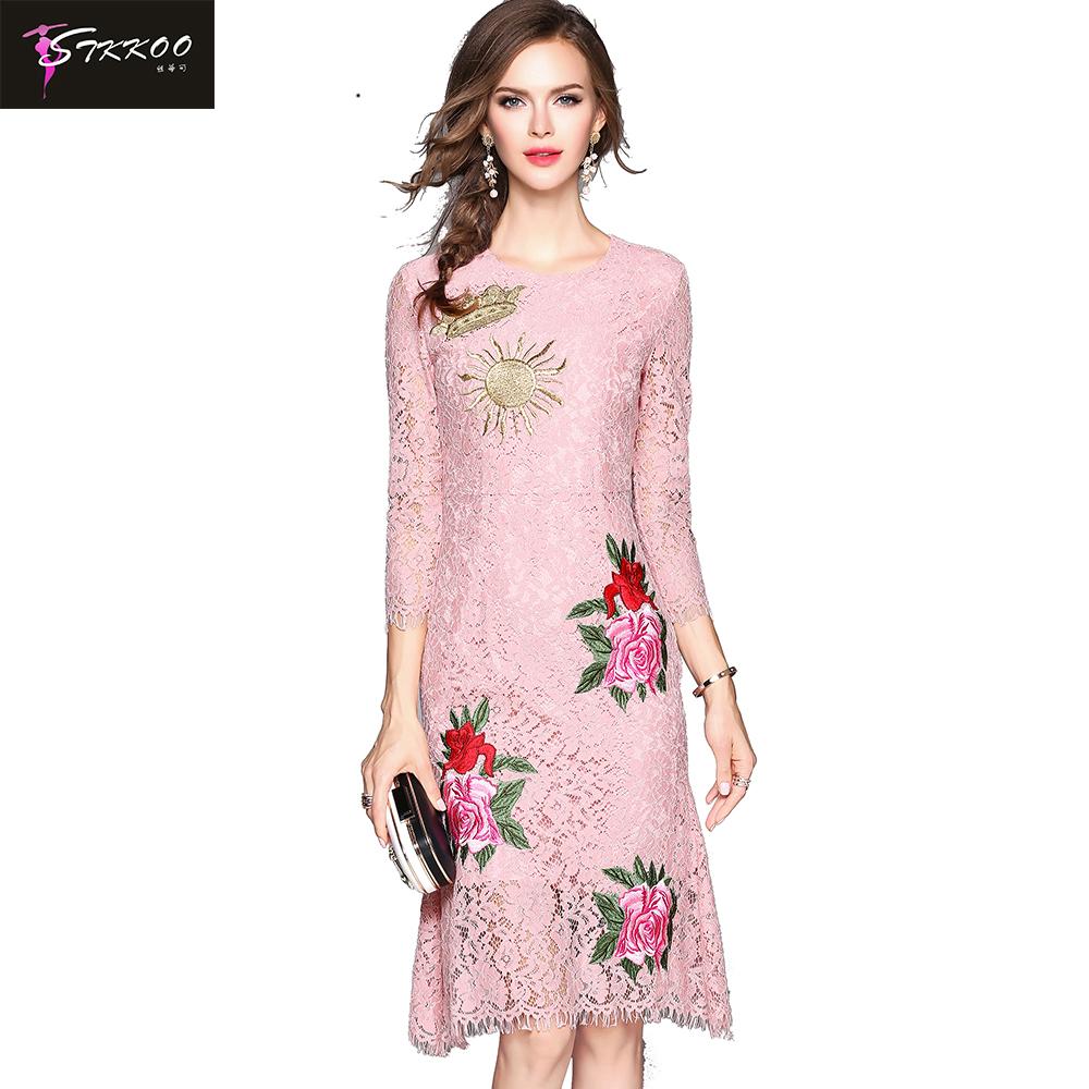 Venta al por mayor vestidos encaje largos con mangas-Compre online ...