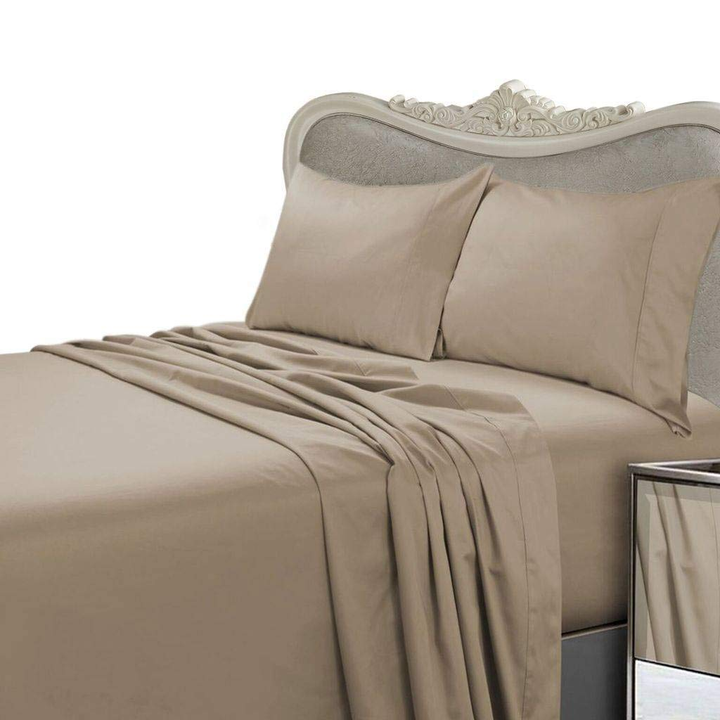 Luxurious SEVEN (7) Piece Set, TAUPE Solid / Plain, CAL KING Size, 4pc BED SHEET SET & 3pc DUVET SET, 1500 Thread Count Ultra Soft Single-Ply 100% Egyptian Cotton, 1500TCSheet & Duvet Set includes Two (2) Shams & TWO (2) Pillow Cases