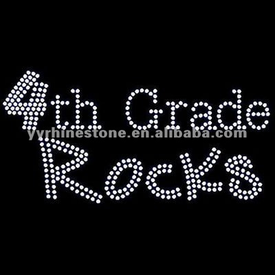 4th Grade Rocks Iron on Rhinestone Transfer Motif Designs