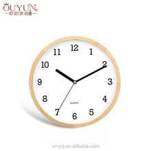 12 inch round modern simple art non-ticking mute/silent analog wood wall clock for home decoration