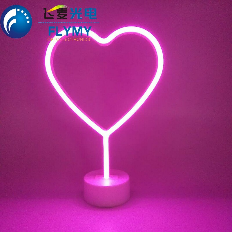 Led home lighting 3AA battery power plastic mini neon heart flamingo unicorn sign light