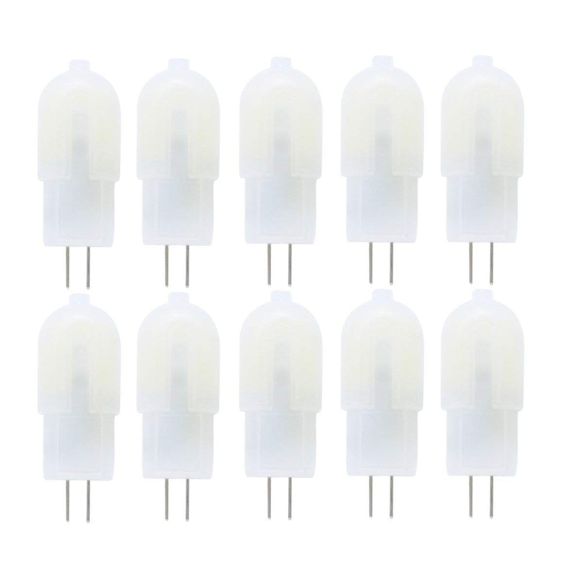 Vlio G4 LED Bulbs, 10 Pack 3W 18 LED 2835SMD Replace 30W Halogen Bulbs, DC/AC 12V, Non-Dimmable Capsule Light Bulbs, 240LM 6000K Cool White, 360 Degree Beam Angle