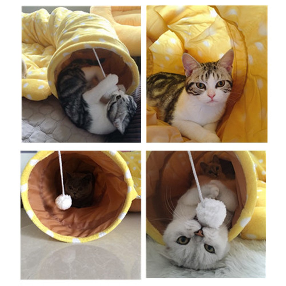 Cat Tunnel Toy and Bed with Scratching Ball Collapsible Cat Mate Easy to Clean Soft Removable Shack House Suitable for Puppy