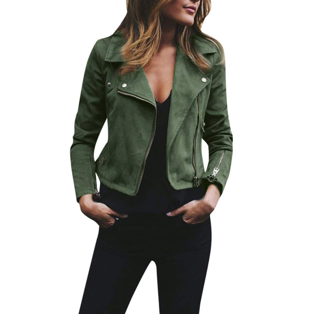 Clearance Sale ! BOOMJIU Womens Ladies Retro Rivet Zipper Up Crop Bomber Jacket Autumn Casual Slim Coat