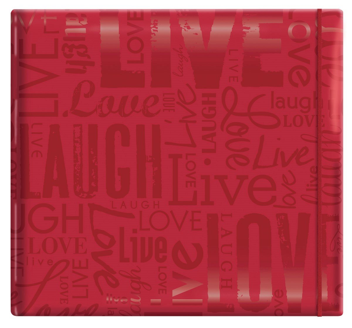 "MCS MBI 13.5x12.5 Inch Embossed Gloss Expressions Scrapbook Album with 12x12 Inch Pages, Red, Embossed ""Live, Laugh, Love"" (848115)"