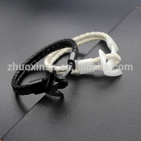China supplier high quality cord leather anchor ceramic bracelet