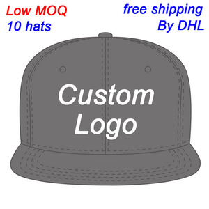 Low MOQ free shipping flat brim hiphop fitted full close trucker tennis sport hat custom snapback cap customize baseball hat