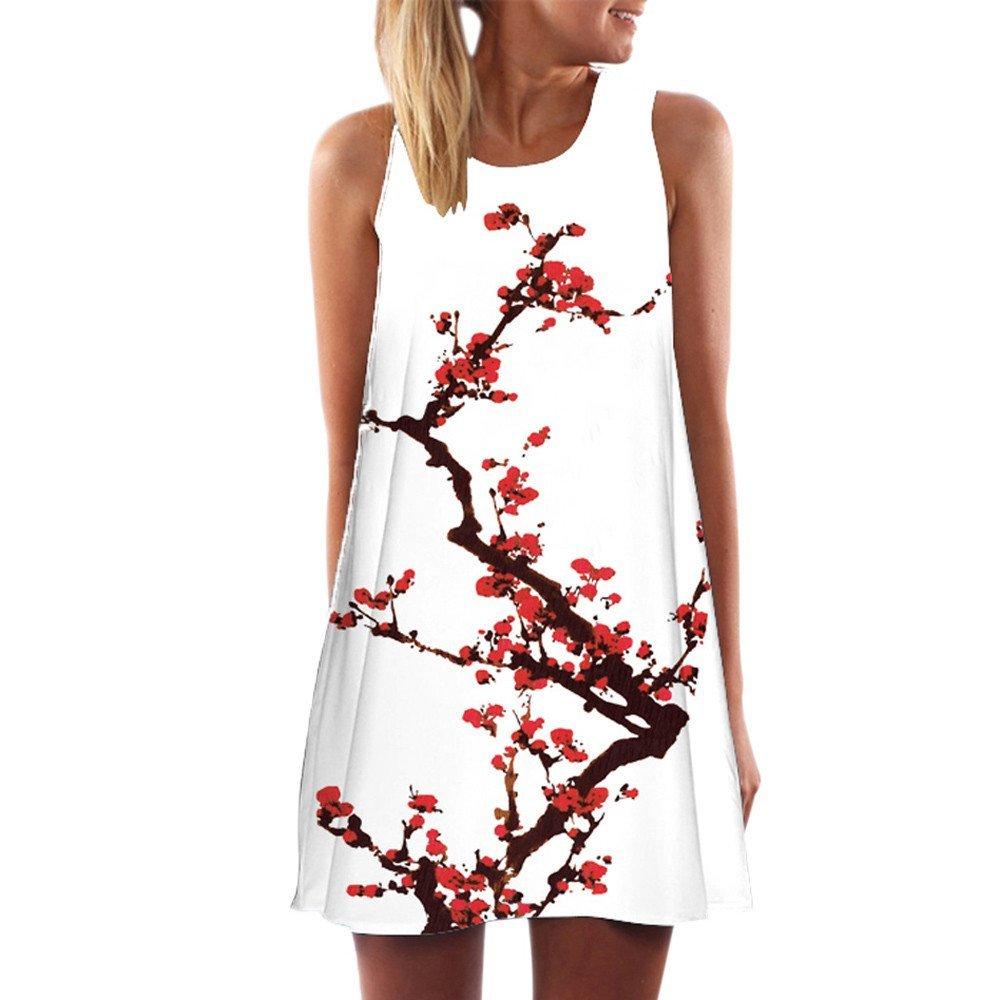HOT SALE, AIMTOPPY Fashion Vintage Boho Women Summer Sleeveless Beach Printed Short Mini Dress (L, white Plum blossom)
