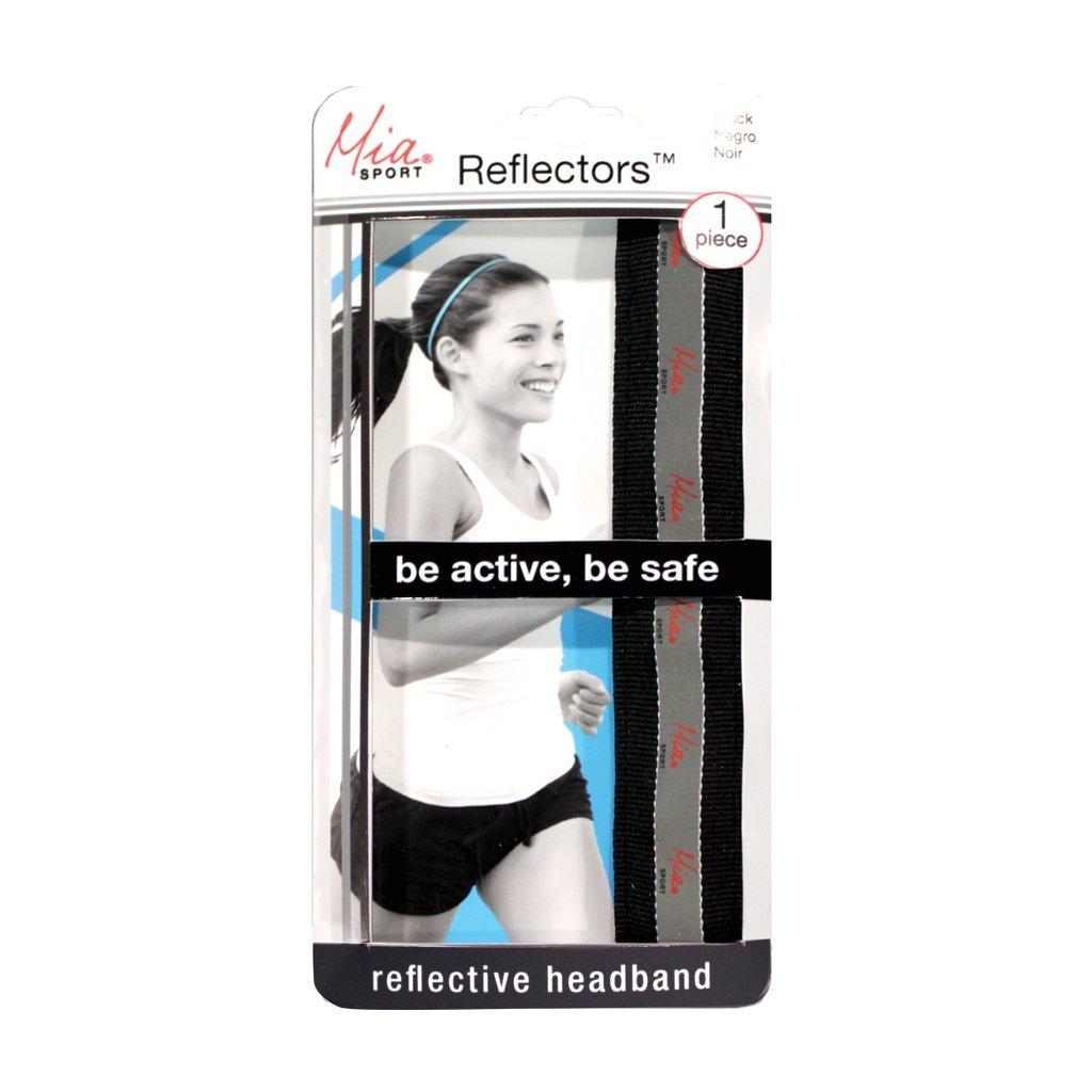 Mia Reflectors - absorbant headbands - Black Ribbon With Reflective Mia Sport Velvet-Lined Sweatband