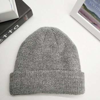 dbb42635 High quality wholesale custom winter warm double layers knitted folded acrylic  beanie hat in loose knitting