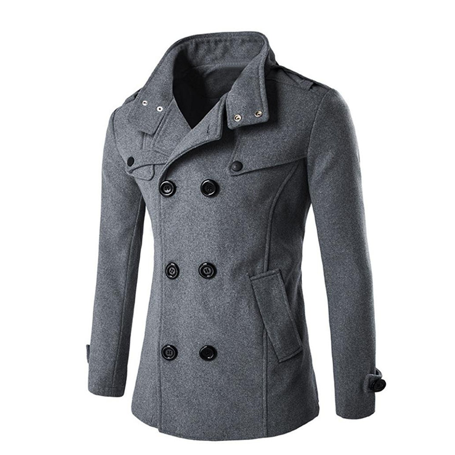 Peanutcool Fashion Jacket, Cool Men's Autumn and Winter Double - Breasted Collar Wool Coat Sweater Coat