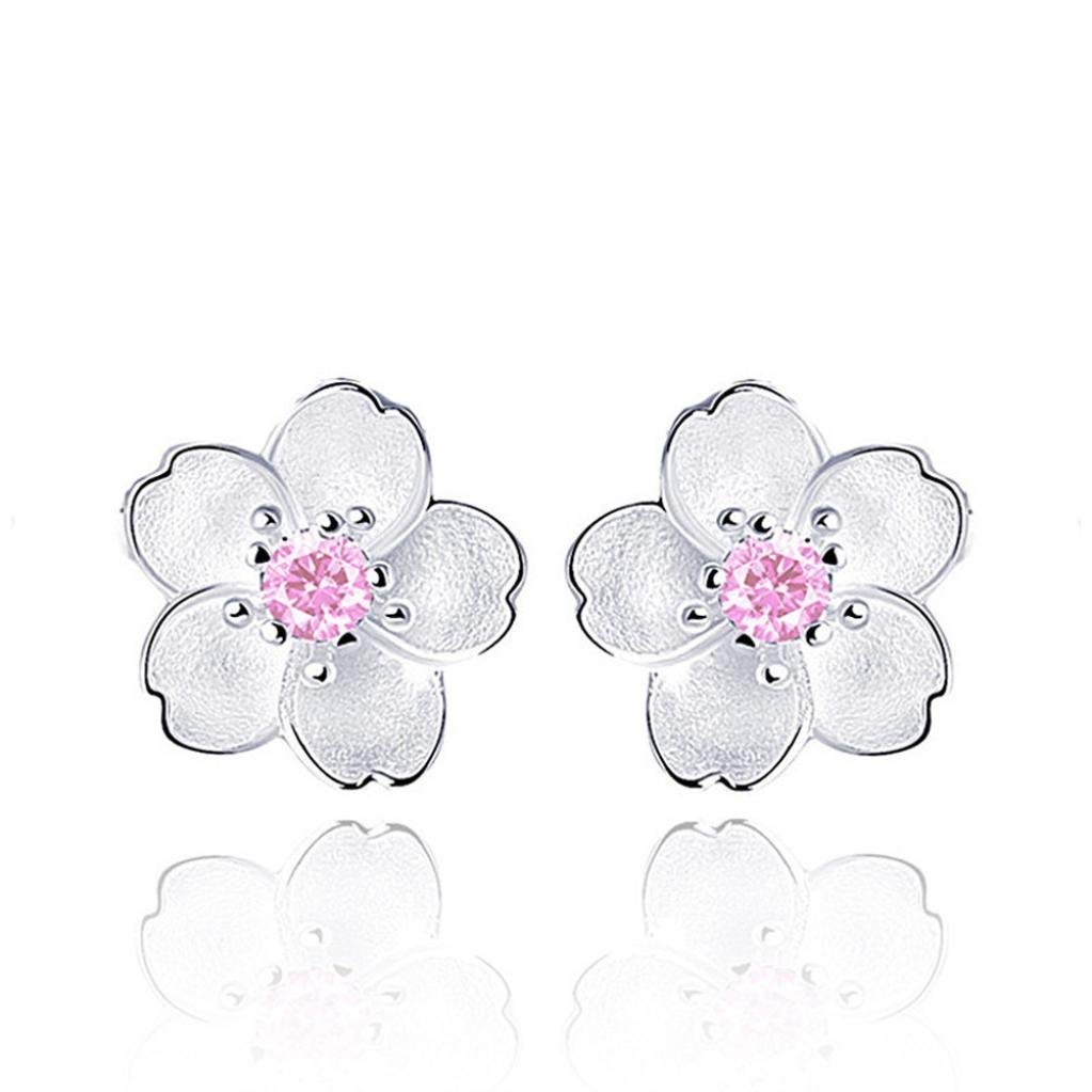 Gyoume 1 Pair Ear Stud Girls New Design Women Earring Elegant Sterling Silver Earrings 3 Color Wedding Gift