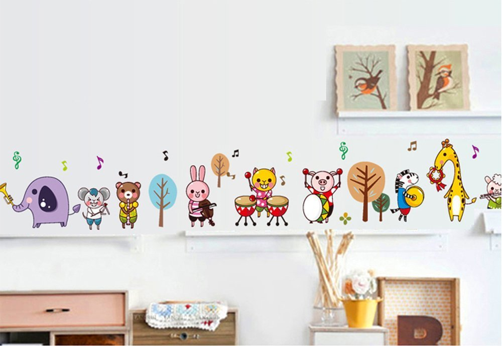 ufengke® Cartoon Animal Orchestras Wall Decals, Cute Bunny Bear Elephant and Zebra, Children's Room Nursery Removable Wall Stickers Murals