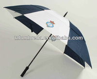 stormproof air vented Straight golf umbrella-white and navy blue