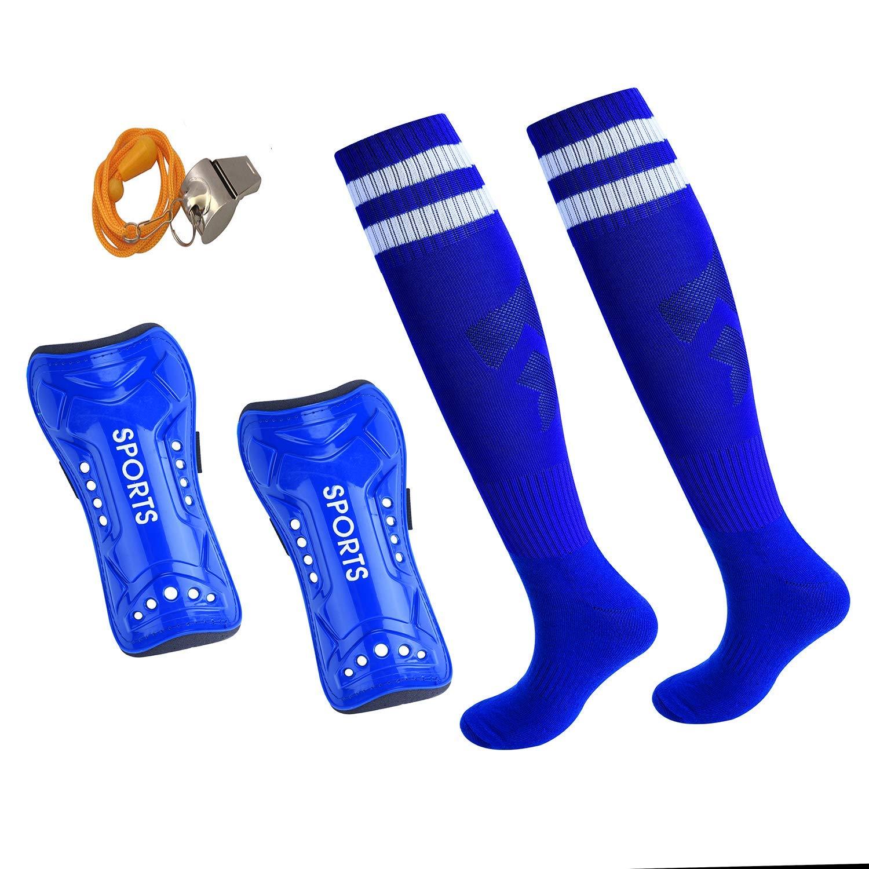 37c6076baf19 Get Quotations · USATDD Soccer Shin Pad Over Knee Soccer Socks Kids Leg  Carf Protective Shin Pads Adjustable Perforated