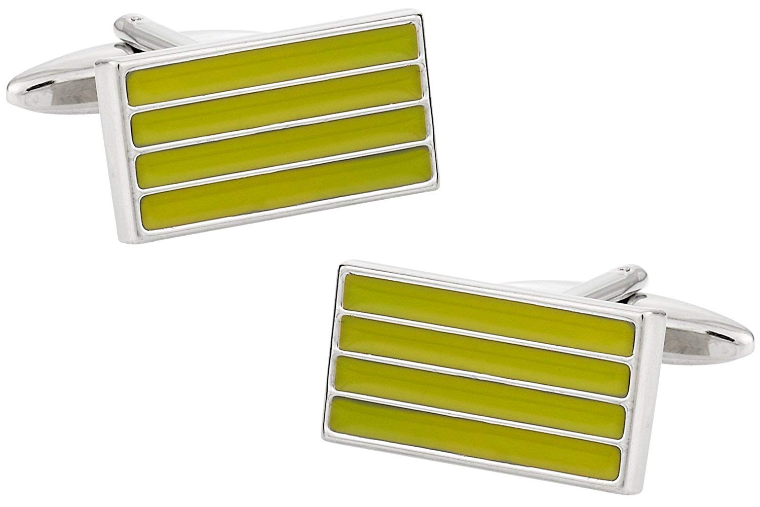 Cuff-Daddy Enamel Chartreuse Green Bar Cufflinks with Presentation Box