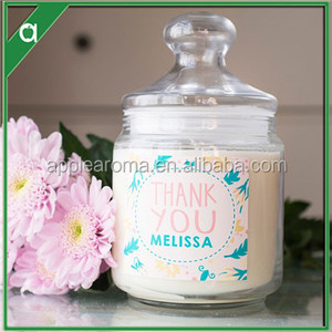 Lovely Labeling Soy Wax Scented Candle In Crystal Glass Candle Holde