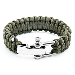 Custom Logo Nylon Adjustable Cord Bracelet Paracord Engraving Bracelet With Stainless Steel Shackle